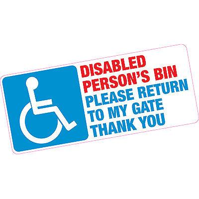 Disabled Person's Bin Please Return To My Gate Thankyou Blue Badge Vinyl Sticker