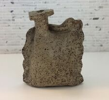 Vintage Studio Pottery Stoneware Brutalist Weed Pot Bud Vase Signed Mid Century
