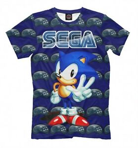 Sonic Hedgehog Sega T Shirt Geek Old School Gamers Tee All Over Print Ebay