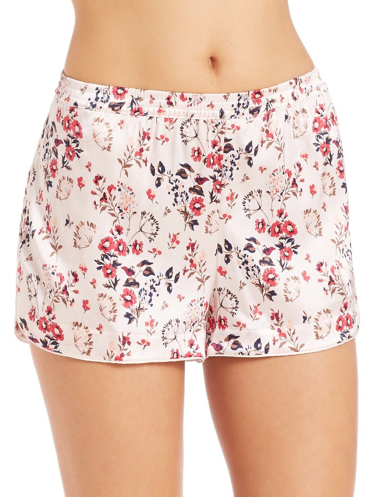 Stella McCartney Elie Leaping Pink Floral Print Stretch Silk Shorts Size Med New