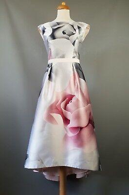 Ted Baker Hagria Pink Porcelain Rose Floral Print Dip Flare Midi Dress 1 UK 8 36