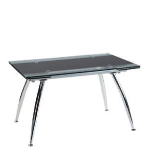 Dettagli su Tavolo da pranzo allungabile in vetro nero tavoli da cucina  allungabili casa