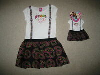 peace Hipster Dress & Doll Outfit Girls 6x Spring Summer Clothes American