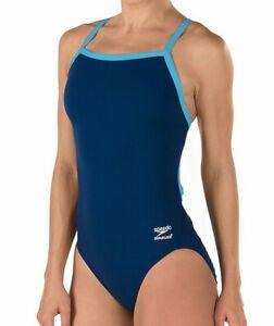 Speedo-Women-039-s-Swimsuit-Blue-Size-28-Endurance-Flyback-One-Piece-69-753