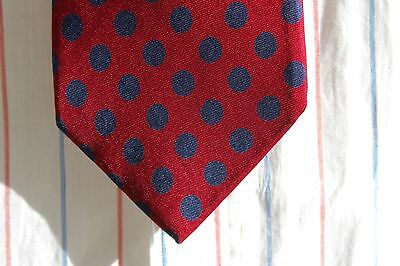 Lands' End Gentleman's Woven Silk Tie - Red With Navy Blue Dots - USA