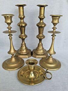 Two-Pairs-Antique-Brass-Candlesticks-amp-Chamberstick-Job-Lot