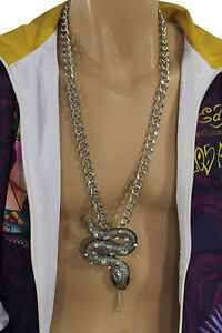 Men-Fashion-Necklace-Chunky-Silver-Metal-Chain-Links-Long-Huge-Snake-Pendant-3D