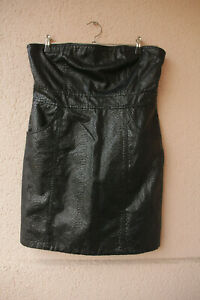 Schwarzes-kurzes-Kleid-in-Reptillederoptik-von-Amisu-Gr-40-Gothic