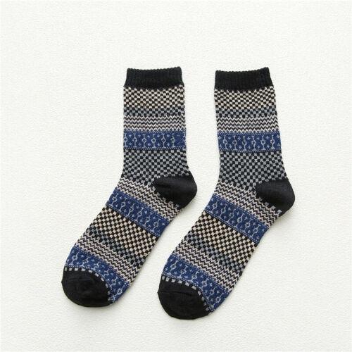 Unisex Winter Thick Warm Stripe Wool Socks Casual Socks Business Mid Tube Socks