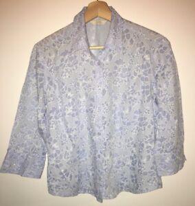 Ladies-Pale-Blue-Floral-Shirt-Size-12-M-amp-S-lt-NH7784