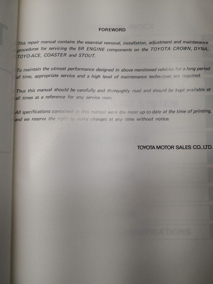 (84)Reparationsbog, Toyota 5R motorbog