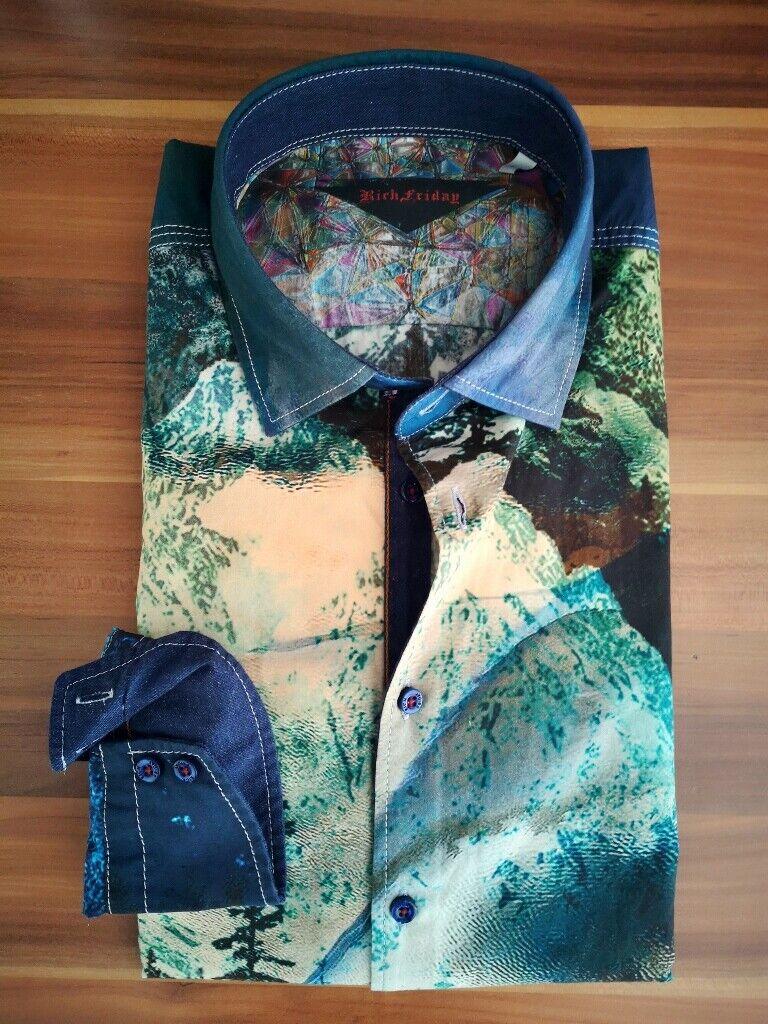 Rich Friday Slim-Fit Herren Hemd exklusiv druck blau grün 91100.176