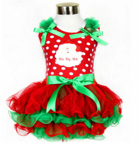 2017 Cute Baby Kid Girls Christmas Candy Santa Lace Tutu Dress Skirt 2 styles