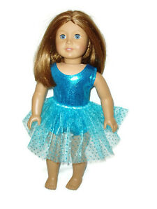 Teal-Leotard-n-Teal-Tutu-fits-American-Girl-dolls-18-034-Doll-Clothes-Ballet