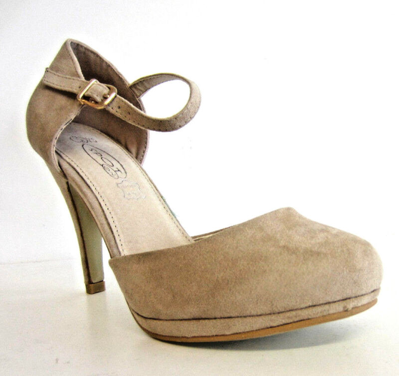 SchöN Spot On Ladies F9r646 Nude Court Shoe With Ankle Strap (r11a)
