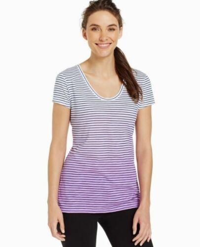 Women/'s Purple Sport Petite Striped Ombré Tee Style /& Co