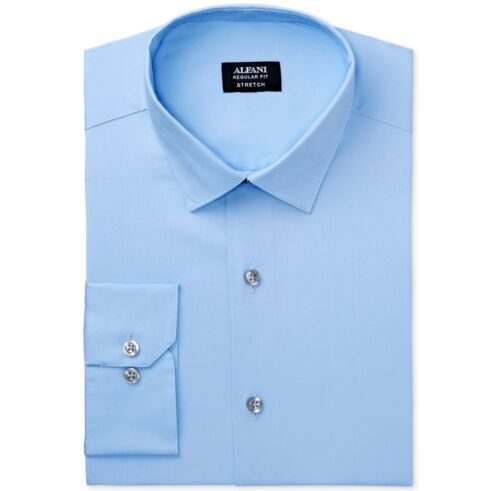 NWT $91 ALFANI Men REGULAR-FIT BLUE COTTON LONG-SLEEVE DRESS SHIRT 16-16.5 34//35