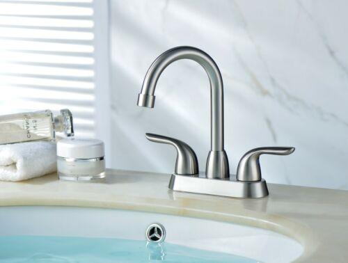 Bathroom Sink Faucet Brushed Nickel Two Handle Centerset Bathroom Faucet