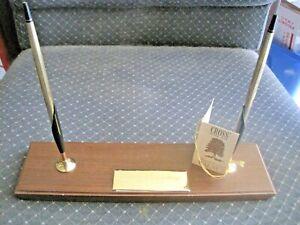 VINTAGE-Cross-Desk-Set-10K-GF-GOLD-Ballpoint-Pen-Pencil-Rubbed-Walnut-TAG-UNUSED