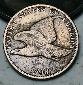 1858-Flying-Eagle-Cent-One-Penny-1C-Small-Letters-Civil-War-Era-US-Coin-CC4925