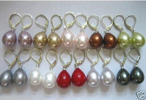 Hot Vente en Gros 10 Paires 12X16mm South Sea Shell Pearl Drop Crochet Boucles D/'oreilles