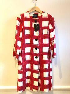 Hobbs-Linen-Red-and-White-Dress-Coat-UK-8