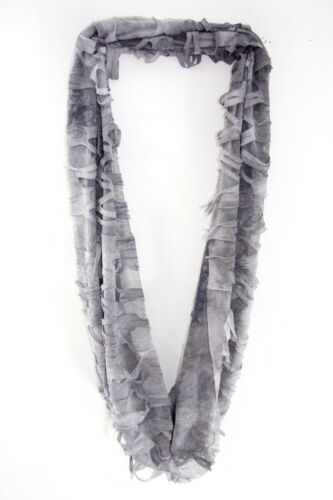AUSTERE MINIMALIST MODERN CHIC GREY INFINITY SCARF 3-D EFFECT OVAL CUTS MS25
