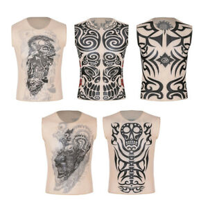 Women-Mens-Fake-Tattoo-Muscle-Bodybuilding-Sleeveless-Shirt-Tank-Top-Gym-Singlet