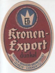 1 Bieretikett Leipzig Kronen Brauerei - Leipzig, Deutschland - 1 Bieretikett Leipzig Kronen Brauerei - Leipzig, Deutschland