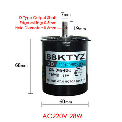 AC220V 28W 2.5//20//30//110RPM Permanent Magnet Synchronous Gear Motor CW//CCW NEW