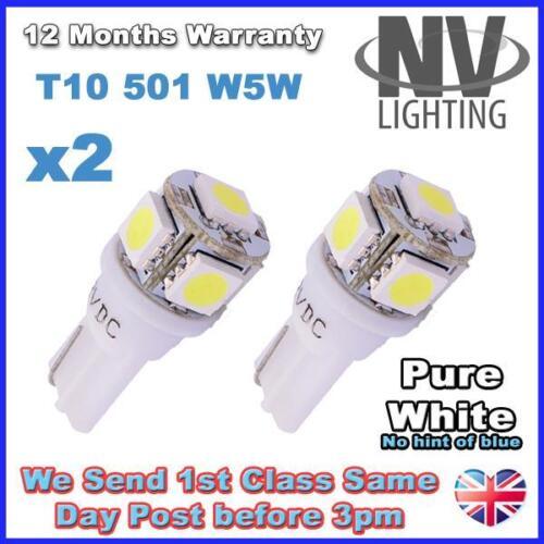 2 x 5 PURE WHITE SMD LED 501 T10 W5W Interior SUPER BRIGHT Side Light bulbs