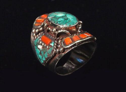 Traditioneller Tibetischer Türkis Ring tibetan turquoise ring neusilber  Nr.22