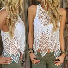 Fashion Women Lace Crochet Vest Tank Top Casual Sleeveless Beach Cover UP Blouse