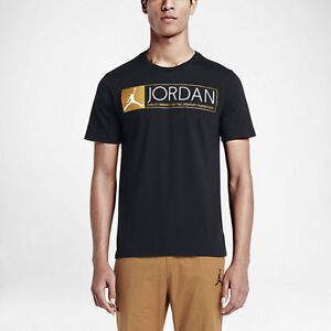 01522486aeb air jordan 12 the greatest T-SHIRT US MENS BLACK/GOLD SIZES 725013 ...