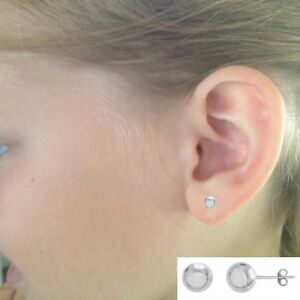 10K-Real-White-Gold-Ball-Small-Stud-Post-Earrings-5mm