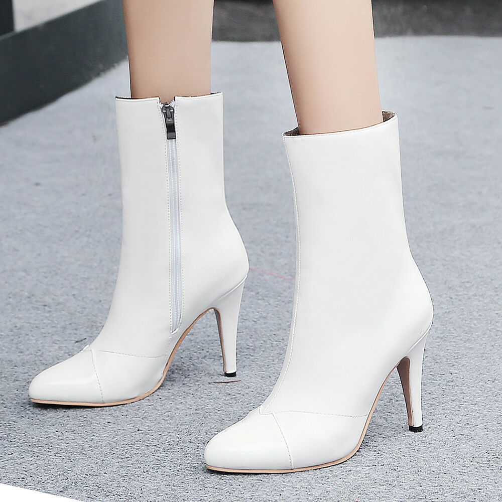 Women Mid-calf Boots Plus Size Leather Point Toe Stiletto High Heel Booties shoes
