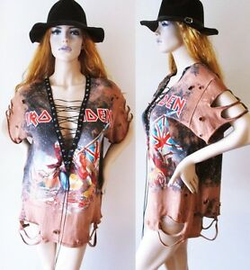 0cc5fabe169 Iron Maiden Bleached Distressed lace up t shirt dress or tunic ...