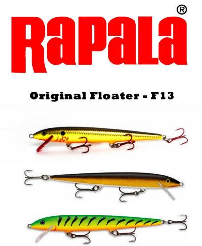 NIB Rapala Original Floating F13FT//G//BHO//V//YP Trout Pike Salmon Muskie Sea Lures