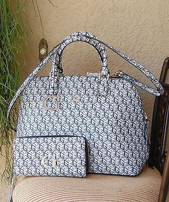 88000becc675 NWT Beautiful GUESS G Cube Dome Satchel Handbag   Zipped Around Wallet Set  Black