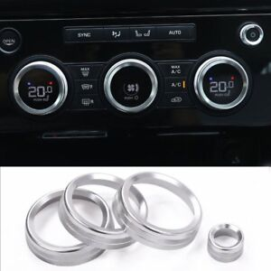 4*Chrome ABS Volume& Air Condition Knobs Trim for Land Rover Discovery 5 2017-18