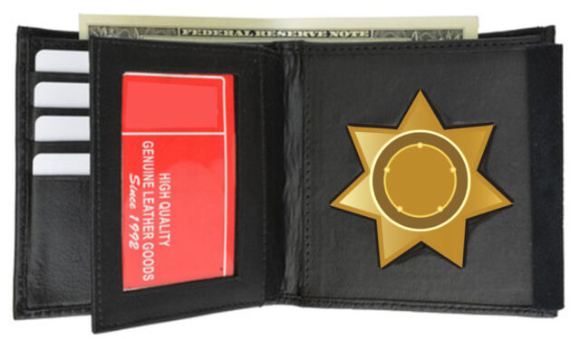 Black Concealed Carry Badge Holder Wallet Leather Security 7 Point Star