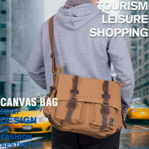 Men's Leather Satchel School 15'' Laptop Military Canvas Shoulder Messenger Bags