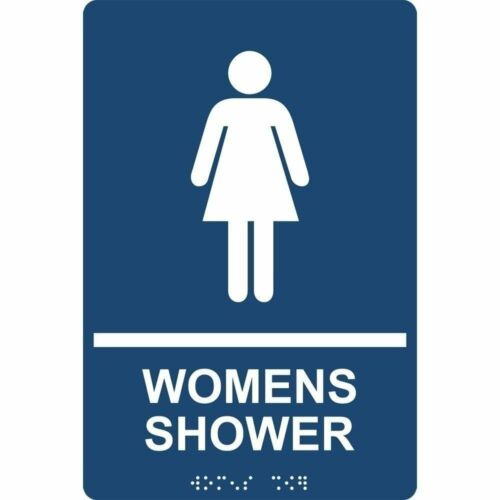 ADA-Compliant Braille Made in USA Womens Shower Sign 9x6 in Navy Acrylic