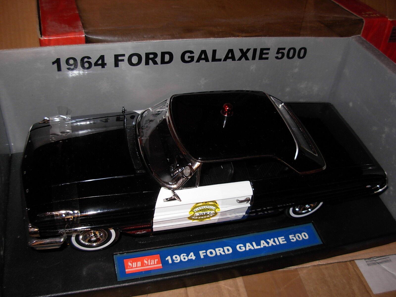 Rare 1 18 1964 Ford Galaxie 500 Minneapolis policía Police SunEstrella maqueta de coche