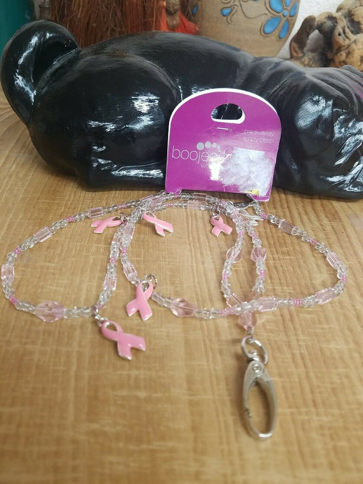 Boojee Beads ZipWear Retractable Badge Reel Plastic ID Holder Breast Cancer
