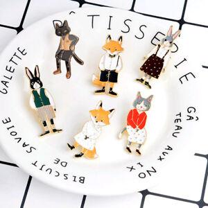 Cute-Lovely-Metal-Brooch-Pins-Bradge-Enamel-Pin-Cartoon-Animal-Fox-Rabbit-Cat
