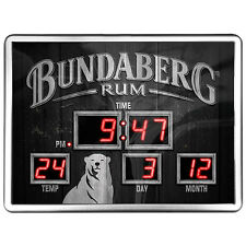 123141 BUNDABERG BUNDY RUM SCOREBOARD DIGITAL LED CLOCK TIME DATE TEMPERATURE