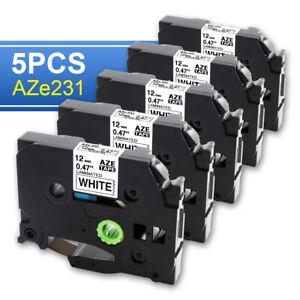 5x SCHRIFTBAND KASSETTE 12mm für BROTHER TZE-231 P-Touch P700