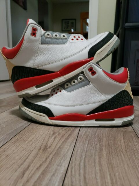 reputable site 8143c 6f63e Nike Air Jordan 3 III Retro 136064 161 White Fire Red Cement Size 9.5