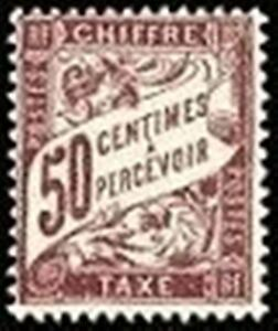 FRANCE-STAMP-TIMBRE-TAXE-N-37-034-TYPE-DUVAL-50c-LILAS-034-NEUF-xx-TTB